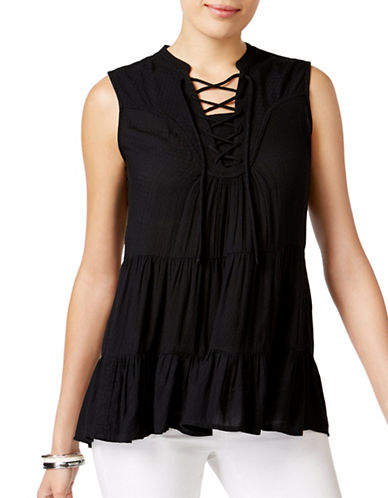 Style And Co. Tiered Lace-Up Top-BLACK-Large