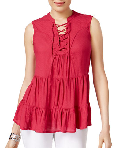 Style And Co. Tiered Lace-Up Top-PINK-Large