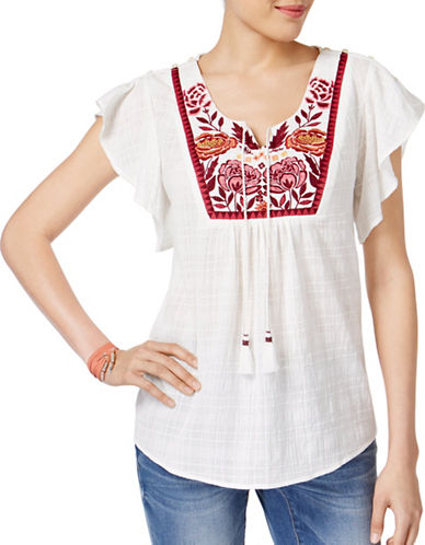 Style And Co. Petite Embroidered Cotton Peasant Top-WHITE-Petite Large