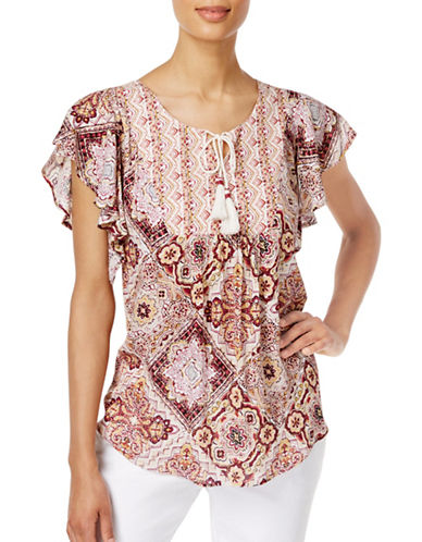 Style And Co. Petite Flutter-Sleeve Peasant Top-WHITE/RED-Petite X-Large