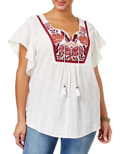 Style And Co. Plus Traveler Embroidered Top-WHITE-1X