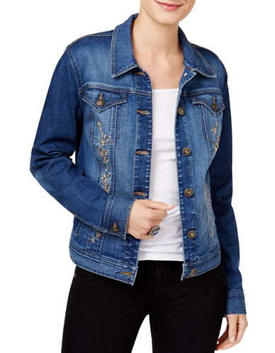 Style And Co. Embroidered Denim Jacket-BLUE-Small