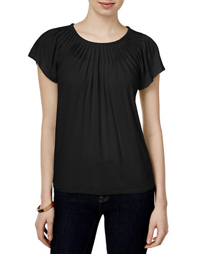 Style And Co. Pleated-Neck Top-BLACK-X-Large