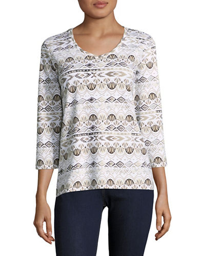 Karen Scott Stripe Array Three-Quarter Top-BEIGE-Medium