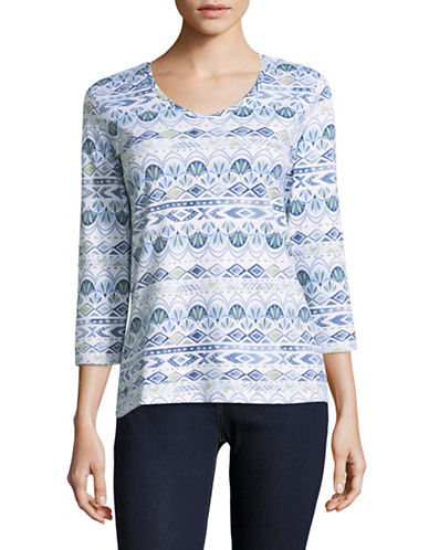 Karen Scott Stripe Array Three-Quarter Top-BLUE-Large