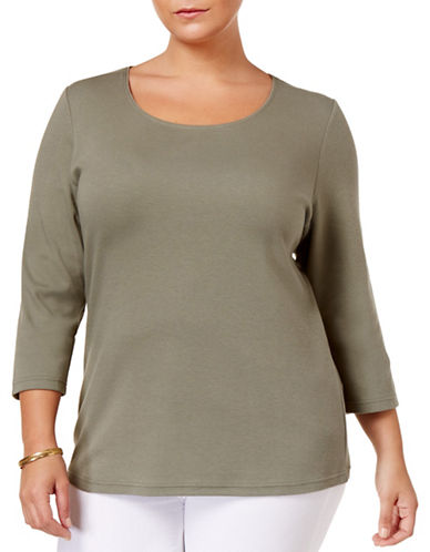 Karen Scott Plus Plus Three-Quarter Sleeve Top-GREEN-2X