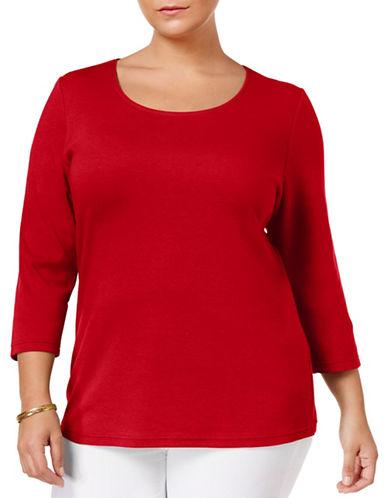 Karen Scott Plus Plus Three-Quarter Sleeve Top-RED-1X