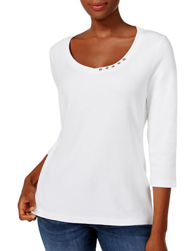 Karen Scott Petite Cotton Button-Trim Top-WHITE-Petite Small