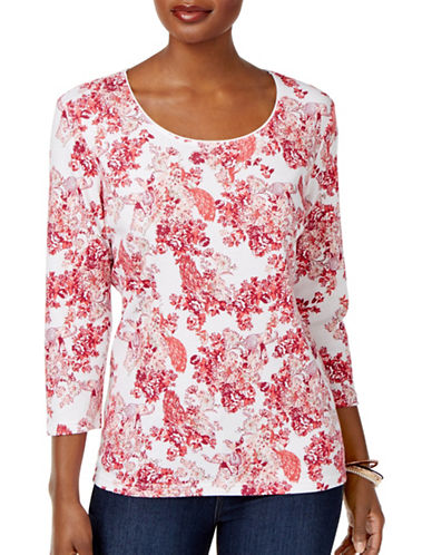 Karen Scott Petite Printed Three-Quarter Sleeve Top-WHITE MULTI-Petite Small