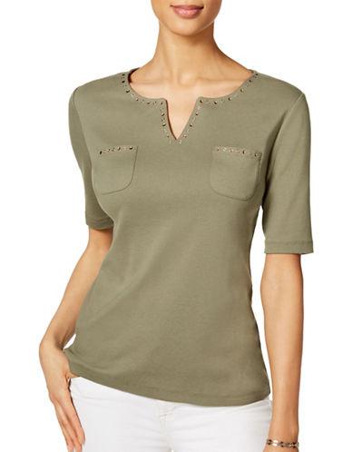 Karen Scott Rivet Studded Split Neck Top-GREEN-X-Large