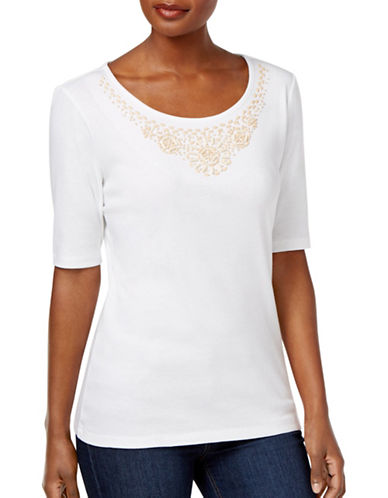 Karen Scott Beaded-Neck Top-WHITE-Medium 89227285_WHITE_Medium