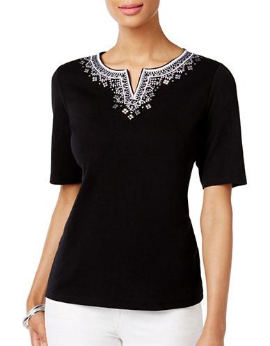 Karen Scott Embroidered Cotton Top-BLACK-Small