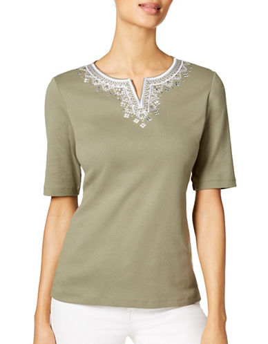 Karen Scott Embroidered Cotton Top-GREEN-Large