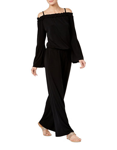 I.N.C International Concepts Off-The-Shoulder Jumpsuit-BLACK-Medium