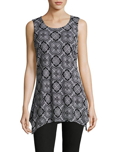 Style And Co. Printed Sharkbite Tunic-BLACK MULTI-Large