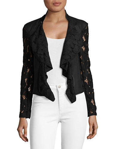 I.N.C International Concepts Drape Front Lace Jacket-BLACK-Small