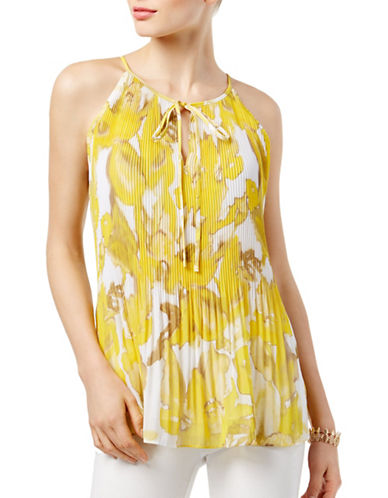 I.N.C International Concepts Pleated Halter Top-YELLOW-Medium