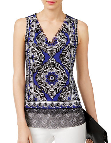 I.N.C International Concepts Layered Tank Top-BLUE MULTI-Large