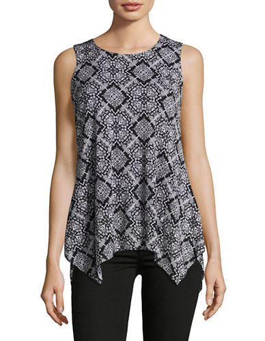 Style And Co. Petite Sleeveless Printed Mesh Sharkbite Tunic-BLACK-Petite Small