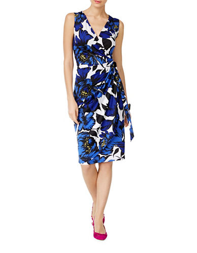 I.N.C International Concepts Floral-Print Faux Wrap Dress-BLUE MULTI-Small