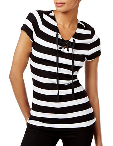 I.N.C International Concepts Striped Lace-Up Top-BLACK-Large