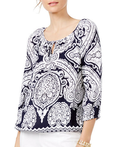 I.N.C International Concepts Printed Tie-Neck Top-BLUE-Small