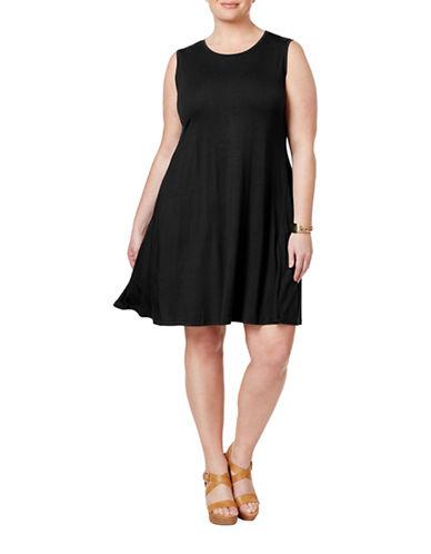 Style And Co. Plus Sleeveless Swing Dress-BLACK-1X