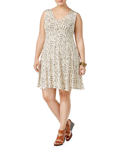 Style And Co. Plus Plus V-Neck Sleeveless Swing Dress-BEIGE-1X