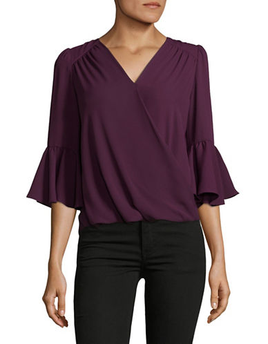 I.N.C International Concepts Petite Front Wrap Blouse-PURPLE-Petite X-Small