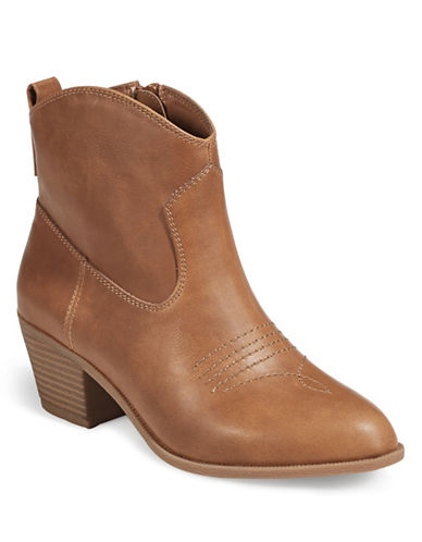 Style And Co. Western Ankle Boots-TAN-7.5
