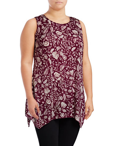 Style And Co. Plus Printed Sharkbite Tunic-PURPLE-1X