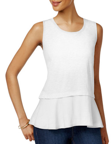 Style And Co. Petite Cotton Peplum Top-WHITE-Petite Small