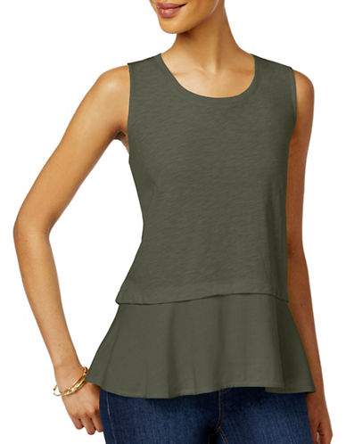 Style And Co. Petite Petite Peplum Top-GREEN-Petite Large