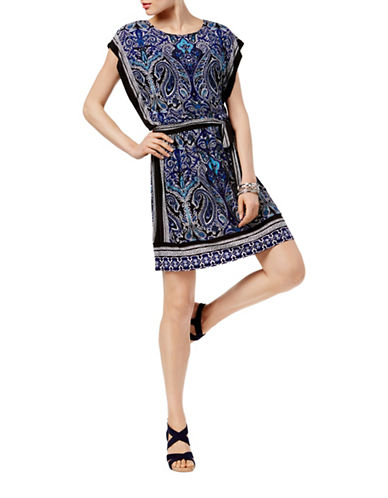 I.N.C International Concepts Petite Petite Printed Blouson Dress-BLUE-Petite X-Small