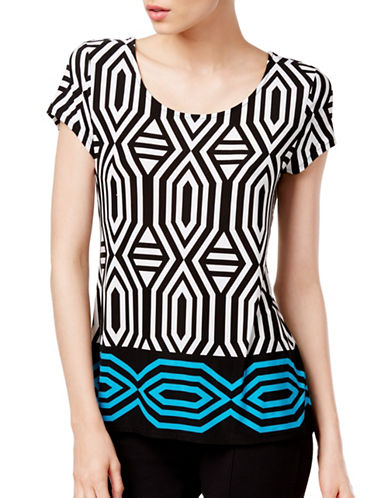 I.N.C International Concepts Petite Geometric-Print Tie-Back Top-BLUE-Petite X-Small