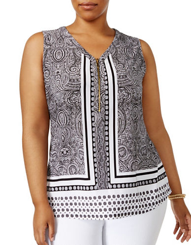 I.N.C International Concepts Plus Printed Zip-Front Top-WHITE MULTI-1X