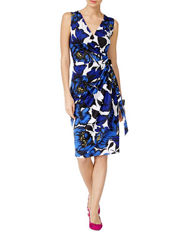 I.N.C International Concepts Petite Floral-Print Faux-Wrap Dress-BLUE-Petite Medium