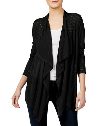I.N.C International Concepts Petite Draped Pointelle Cardigan-BLACK-Petite Medium