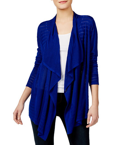 I.N.C International Concepts Petite Draped Pointelle Cardigan-BLUE-Petite X-Small