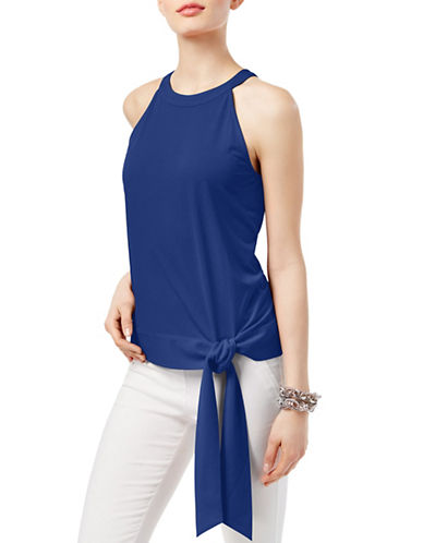 I.N.C International Concepts Petite Tie-Front Halter Top-BLUE-Petite Large