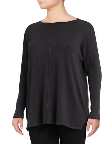 Style And Co. Plus Exposed Seam Shirt-CHARCOAL-2X