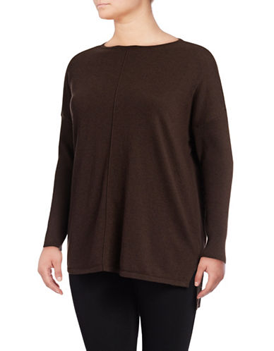 Style And Co. Plus Exposed Seam Shirt-BROWN-1X