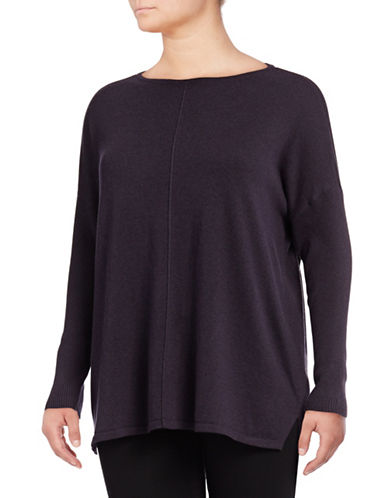 Style And Co. Plus Exposed Seam Shirt-GRAPE-1X