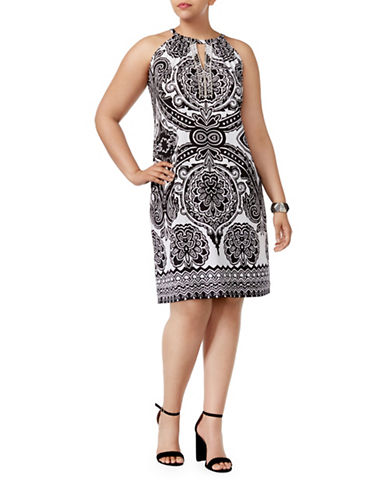 I.N.C International Concepts Plus Embellished Halter Sheath Dress-BLACK MULTI-2X