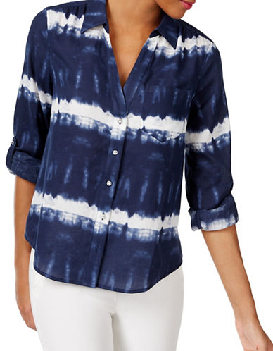 I.N.C International Concepts Tie-Dye Button Down Shirt-BLUE-2