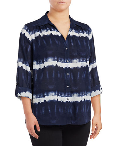 I.N.C International Concepts Plus Tie-Dyed Roll-Tab Shirt-BLUE-14W