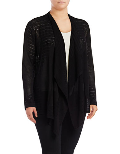 I.N.C International Concepts Plus Perforated Cozy Cardigan-BLACK-1X