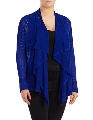 I.N.C International Concepts Plus Perforated Cozy Cardigan-BLUE-1X