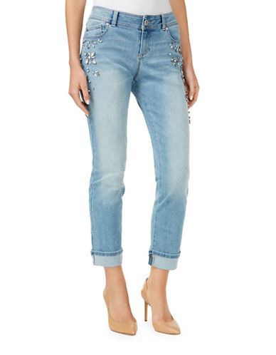 I.N.C International Concepts Slim-Fit Studded Mid-Rise Cuffed Jeans-BLUE-10
