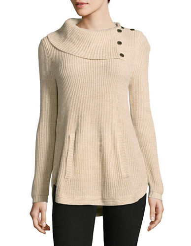 Style And Co. Asymmetrical Cowl Neck Sweater-BEIGE-Large